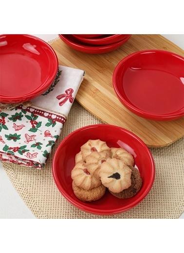 Keramika Kırmızı Halka Çerezlik/Sosluk 13 Cm 6 Adet Renkli